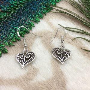 Jewelry - Sterling Silver Tibetan Heart Filigree Earrings